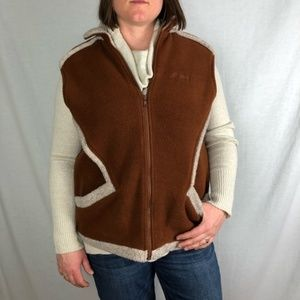 LLBEAN shearling brown and cream vest size large